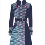 Coat tenun sekaf kombinasi denim