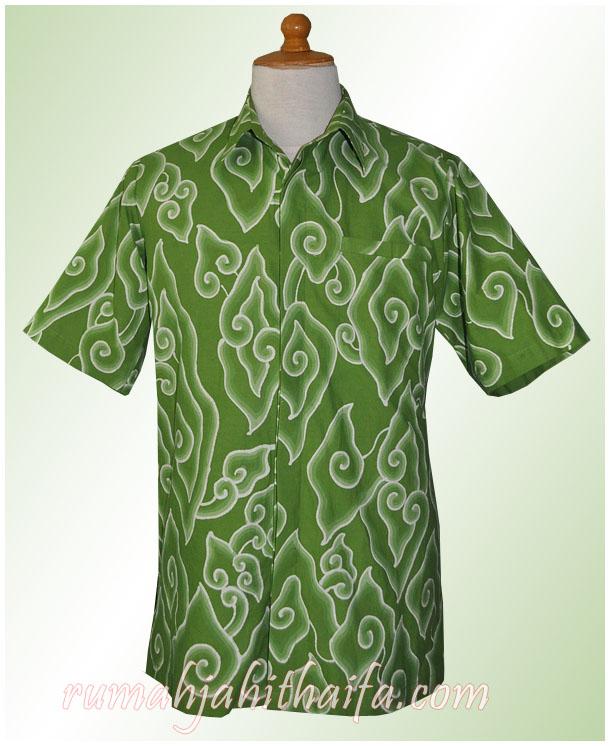 Kemeja Batik Mega Mendung Wanita: Kemeja Batik Mega Mendung Hijau Ibu Nies