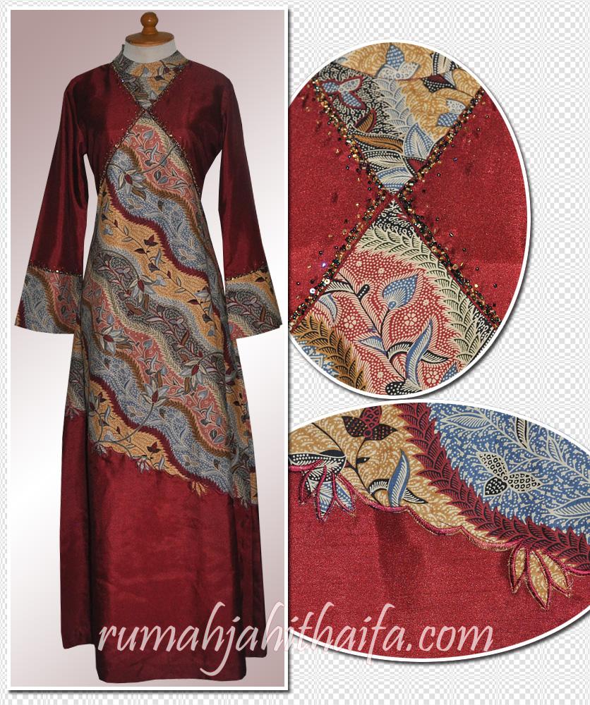 Gamis Batik Kombinasi Kain Polos 28 Images Gamis Batik