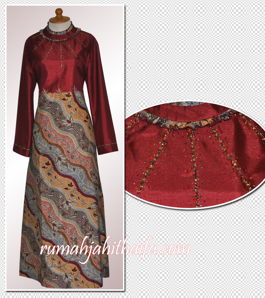 Model Jahitan Baju Gamis Batik Kombinasi
