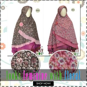 jilbab semi instan haifa motif floral