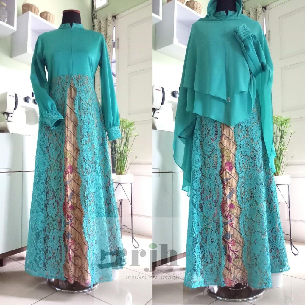 Baju Batik Modern Untuk Orang Tua: Gamis Kombinasi Batik Dan Brocade Ibu Chitra