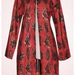 Long jacket kain motif khas Papua order jahitan Ibu Lela A.K di Sulawesi