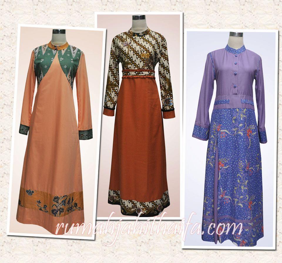 Gamis batik kombinasi polos + gamis polos kombinasi batik Ibu